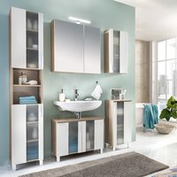 Swift Glass Bathroom Furniture Set In Oak And White With LED