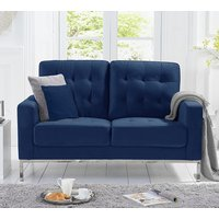 Product photograph showing Swiger Velvet Upholstered 2 Seater Sofa In Blue