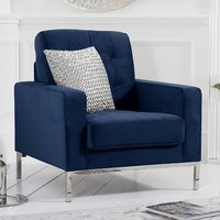 Product photograph showing Swiger Velvet Upholstered Armchair In Blue