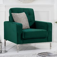 Product photograph showing Swiger Velvet Upholstered Armchair In Green