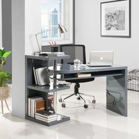 Product photograph showing Sydney Rotating Office Desk In High Gloss Grey