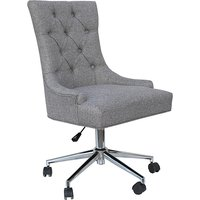 Product photograph showing Tacoma Fabric Button Back Home And Office Chair In Light Grey
