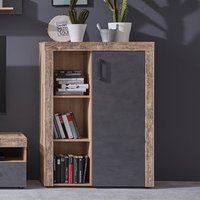 Product photograph showing Tailor Led Display Cabinet In Pale Wood And Matera