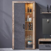 Product photograph showing Tailor Led Tall Display Cabinet In Pale Wood And Matera