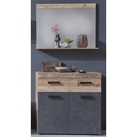 Product photograph showing Tailor Wall Mirror And Shoe Cabinet In Pale Wood And Matera