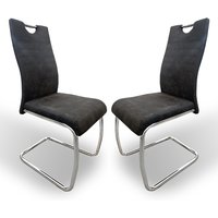 Product photograph showing Talia Suede Effect Dark Grey Fabric Dining Chairs In Pair