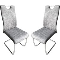 Product photograph showing Talia Suede Effect Light Grey Fabric Dining Chairs In Pair