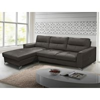 Product photograph showing Tanaro Leathaire Fabric Left Handed Corner Sofa Bed In Grey