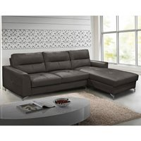 Product photograph showing Tanaro Leathaire Fabric Right Handed Corner Sofa Bed In Grey