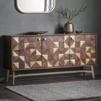 Tate Wooden Sideboard In Brown And Gold Effect With 3 doors