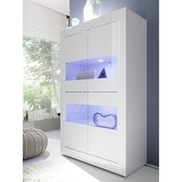 image-Taylor Display Cabinet In White High Gloss With 4 Doors And LED