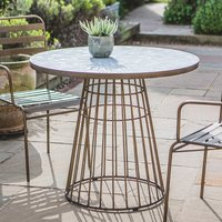 Product photograph showing Teddington Mosaic Ceramic Bistro Table In Bronze Metal Base