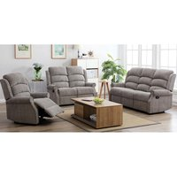 Tegmine 3 Seater Sofa And 2 Armchairs Reclining Suite In Latte