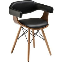 Product photograph showing Tenova Black Faux Leather Bedroom Chair With Beech Wooden Legs