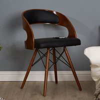 Product photograph showing Tenova Black Faux Leather Bedroom Chair With Walnut Wooden Legs