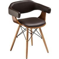 Tenova Brown Faux Leather Bedroom Chair With Beech Wooden Legs