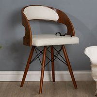 Product photograph showing Tenova White Faux Leather Bedroom Chair With Walnut Wooden Legs