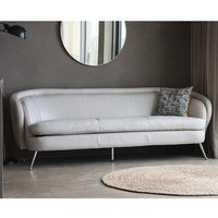 Product photograph showing Tesoro Faux Leather 3 Seater Sofa In Cream