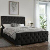 Tetbury Plush Velvet Upholstered Single Bed In Black