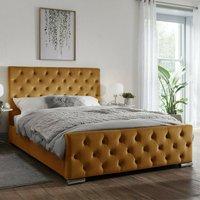 Tetbury Plush Velvet Upholstered Single Bed In Mustard