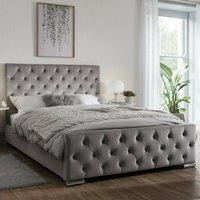 Tetbury Plush Velvet Upholstered Single Bed In Silver