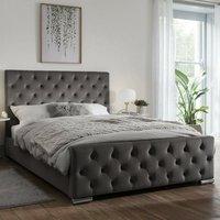 Tetbury Plush Velvet Upholstered Single Bed In Steel