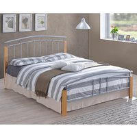 Product photograph showing Tetron Metal Double Bed In Silver With Beech Wooden Posts