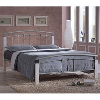 Product photograph showing Tetron Metal Double Bed In Silver With White Wooden Posts