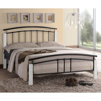 Tetron Metal Single Bed In Black With White Wooden Posts