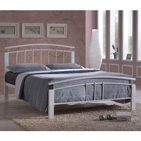 Tetron Metal Single Bed In White With White Wooden Posts
