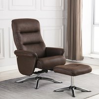 Product photograph showing Texas Faux Leather Swivel Recliner Chair With Stool In Brown