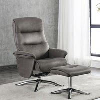 Product photograph showing Texas Faux Leather Swivel Recliner Chair With Stool In Grey