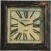 image-Thomas Square Wall Clock In Distressed Black Metal