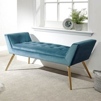 Thornhill Fabric Upholstered Storage Hallway Bench In Teal