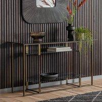 Product photograph showing Throwla Black Glass Console Table With Bronze Metal Frame