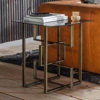 Product photograph showing Throwla Black Glass Side Table With Bronze Metal Frame
