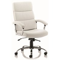 Product photograph showing Tillie Bonded Leather Executive Chair In White With Chrome Base