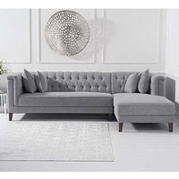 Tislit Linen Right Facing Chaise Sofa Bed In Grey