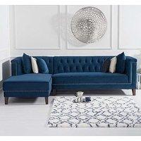 Tislit Velvet Left Facing Chaise Sofa Bed In Blue