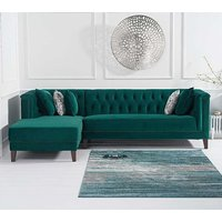 Tislit Velvet Left Facing Chaise Sofa Bed In Green