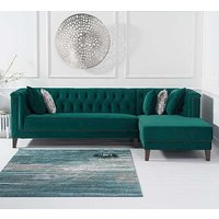 Tislit Velvet Right Facing Chaise Sofa Bed In Green