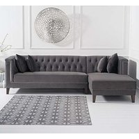 Tislit Velvet Right Facing Chaise Sofa Bed In Grey