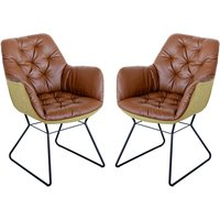 Product photograph showing Titania Brown Two Tone Faux Leather Dining Chairs In Pair