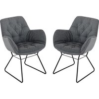 Product photograph showing Titania Grey Two Tone Faux Leather Dining Chairs In Pair