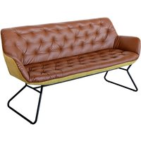 Product photograph showing Titania Two Tone Faux Leather 3 Seater Sofa In Brown