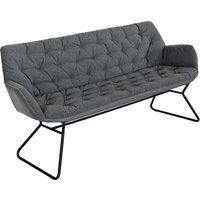 Product photograph showing Titania Two Tone Faux Leather 3 Seater Sofa In Grey