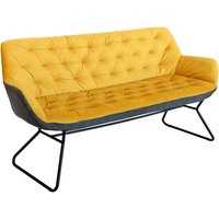 Product photograph showing Titania Two Tone Faux Leather 3 Seater Sofa In Yellow