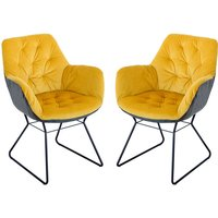Product photograph showing Titania Yellow Two Tone Faux Leather Dining Chairs In Pair