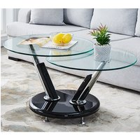 Tokyo Twist Glass Top Coffee Table With High Gloss Black Base
