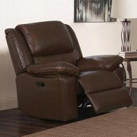 Product photograph showing Toledo Leather And Pvc Recliner 1 Seater Sofa In Brown